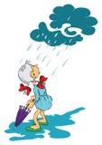 Menina e guarda-chuva Fotos de Stock Royalty Free