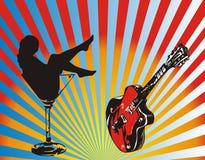 Menina e guitarra ilustração royalty free