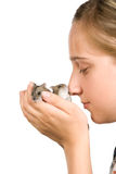 Menina e hamster Fotografia de Stock