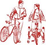 Menina e indivíduo - ciclistas Imagens de Stock Royalty Free