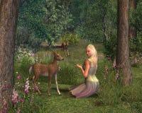 Menina e jovens corças ilustração stock