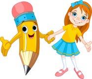 Menina e lápis Foto de Stock