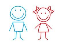 Menina e menino ilustração stock