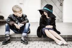 Menina e menino Foto de Stock Royalty Free