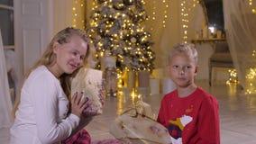 Menina e menino do adolescente que guardam a caixa atual do ano novo no fundo da árvore do feriado vídeos de arquivo