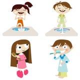 Menina e menino dos desenhos animados do vetor Fotografia de Stock Royalty Free