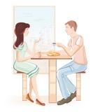 Menina e menino em um café Fotos de Stock Royalty Free