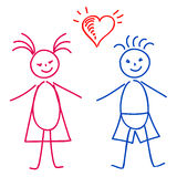 Menina e menino, esboço Fotos de Stock Royalty Free