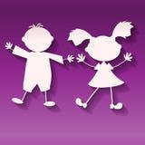 Menina e menino no fundo ultravioleta, estilo de papel da arte Foto de Stock