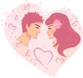 Menina e menino românticos Fotografia de Stock Royalty Free