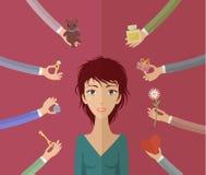 Menina e muitas mãos Imagem de Stock Royalty Free