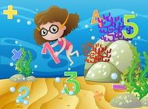 Menina e números subaquáticos Imagens de Stock Royalty Free