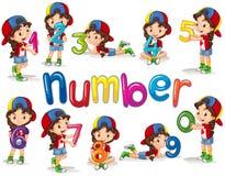 Menina e números zero nove Fotos de Stock Royalty Free