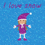 Menina e neve de queda Foto de Stock