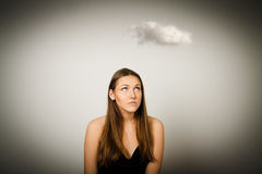 Menina e nuvem Fotografia de Stock