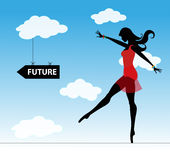 Menina e o futuro Fotografia de Stock Royalty Free