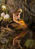A menina e os peixes imagens de stock