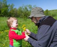 Menina e pai pequenos no prado Foto de Stock Royalty Free