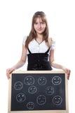 Menina e pessoas emocionais em uma placa de escola Imagens de Stock Royalty Free