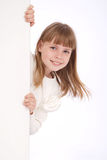 Menina e placa branca Imagem de Stock Royalty Free