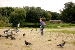 Menina e pombos Fotografia de Stock