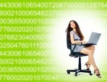 Menina e portátil Imagens de Stock