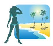 Menina e praia ilustração royalty free