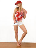 Menina e raquete Fotos de Stock