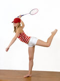 Menina e raquete Imagens de Stock Royalty Free