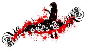 Menina e rolos pretos, pontos vermelhos Fotografia de Stock
