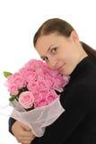 Menina e rosas cor-de-rosa imagens de stock royalty free