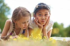Menina e seu amigo na grama Imagens de Stock
