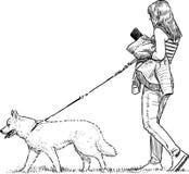 Menina e seu animal de estimação ilustração royalty free