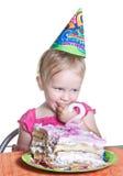 Menina e seu bolo de aniversário Foto de Stock