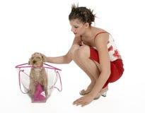 Menina e seu cão Imagens de Stock Royalty Free