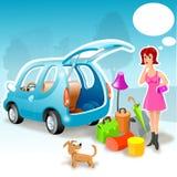 Menina e seu carro Imagem de Stock Royalty Free