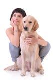 Menina e seu cão Imagem de Stock Royalty Free