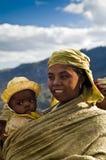 A menina e seu filho Fotos de Stock