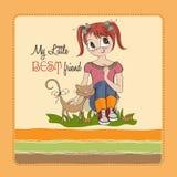 Menina e seu gato Imagem de Stock