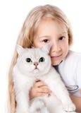 Menina e seu gato Fotos de Stock