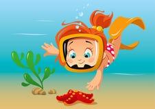 Menina e starfish Imagem de Stock Royalty Free