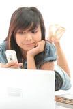Menina e tecnologia Imagem de Stock