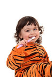 Menina e tooth-brush Imagens de Stock Royalty Free