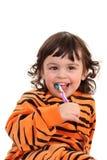Menina e tooth-brush Fotos de Stock Royalty Free