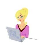 Menina e um portátil ilustração stock