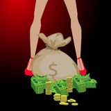 Menina e um saco grande do dinheiro Conceito da finança Fotos de Stock