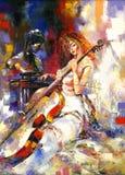 Menina e um violoncelo ilustração royalty free