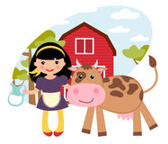 Menina e vaca na exploração agrícola Imagem de Stock