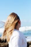 Menina e vento Imagens de Stock Royalty Free
