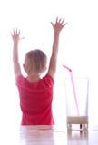 Menina e vidro do leite Imagens de Stock